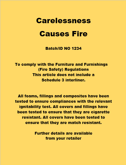 Frade long permanent fire label